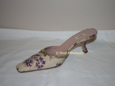 New Authentic PRADA Metallic Jacquard Purple Flowers Mules Slides Shoes 35.5 5.5 - FREE US Ship