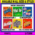 12 Laminated 2.5 x 2.5 Candy Gum Vending Label Vendstar