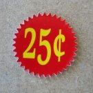 12 .25 INSIDE MOUNT Starburst  Vending Price labels Red
