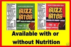12  laminated Buzz Bites VENDING candy labels X