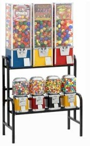 7 Way Rack set up Rhino Vending Labels Toy Candy Gumbal