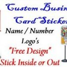 10 Peel Stick Custom ID VENDING Vendstar label Biz Card