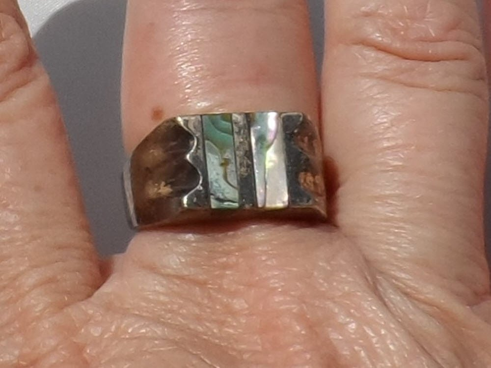 Abalone Shell Sterling Silver Ring, Size 9.5, Vintage 1970s, Handcrafted