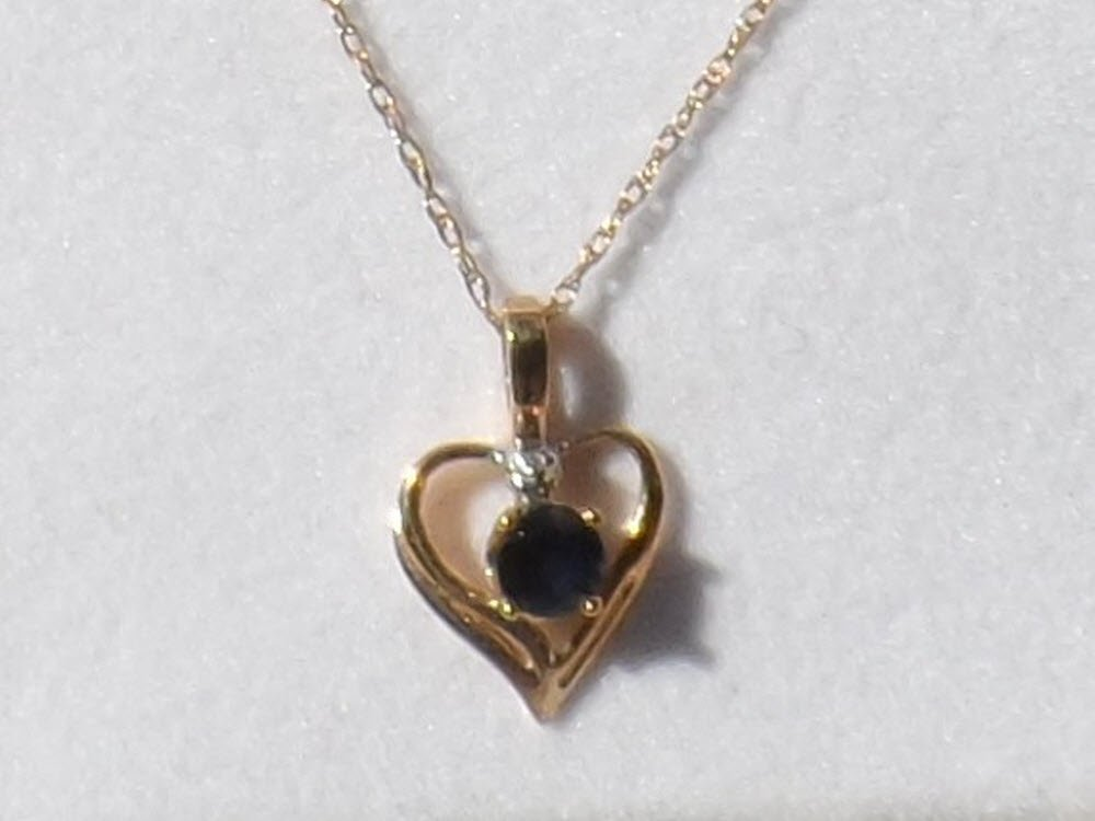 Sale, Dainty 10K Gold Blue Sapphire Heart Necklace, Signed, New in box, Circa 1980s