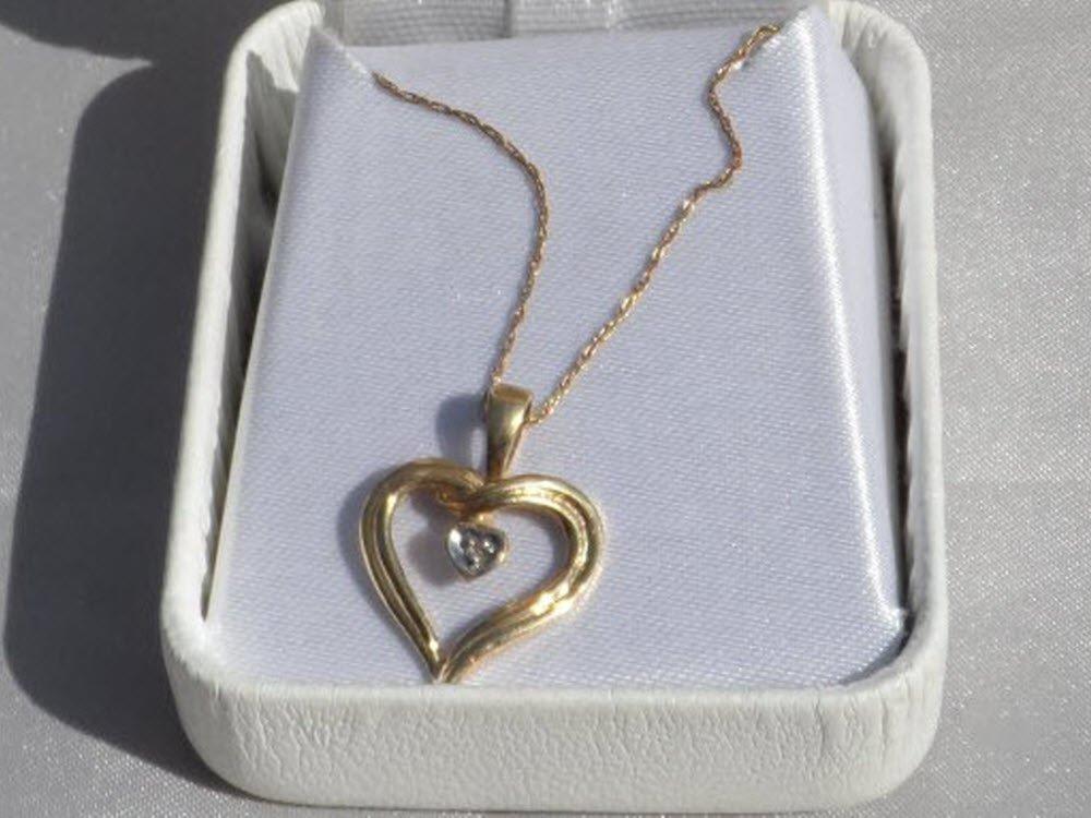 Sale, 10K Gold Heart Diamond Necklace, Vintage 1980s