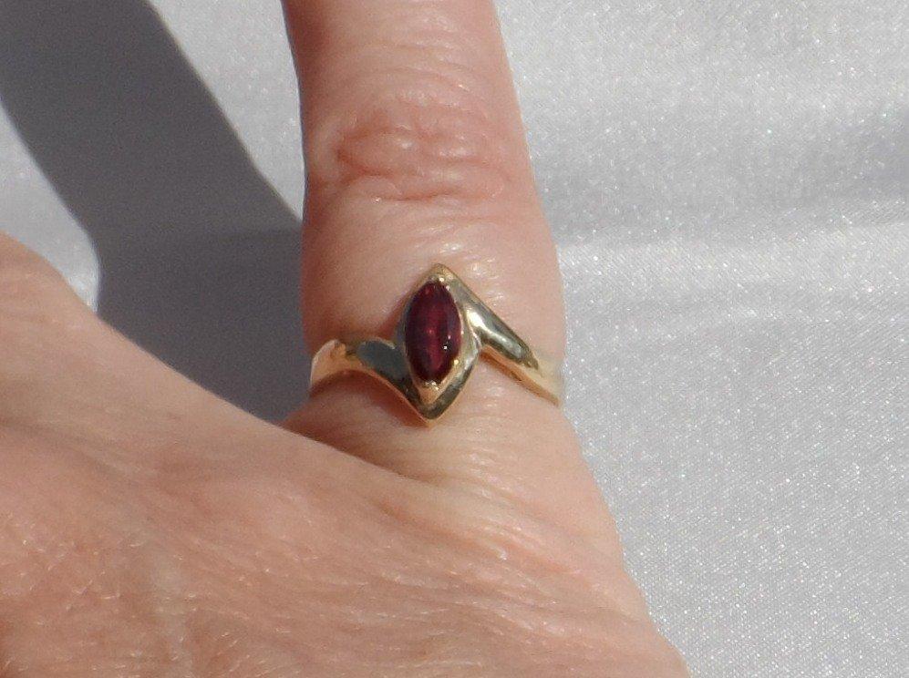 Simple 10K Gold Marquis Cut Garnet Ring, Size 6.75, Signed, Vintage 1990s
