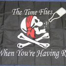 The Time Flies When You're Having Rum Pirate Flag 3x5 feet Skull Cross Bones new