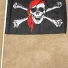 Pirate Flag 12x18 inches Red Bandana banner wooden stick jolly roger boating new