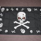 Halloween Pirate Flag 3x5 feet Skull banner jolly roger red eyes skeleton new
