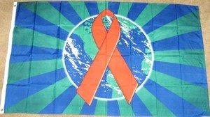 AIDS Awareness Flag 3x5 feet red ribbon banner earth world new