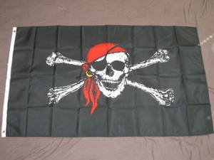 Pirate Flag 3x5 feet Jolly Roger red Bandana Skull cross bone banner new