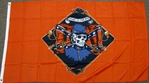 Rebel 'till the End Flag 3x5 feet Confederate skeleton banner south southern