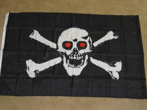 Red Eye Pirate Flag 3x5 feet Jolly Roger Skull & Cross Bones banner new