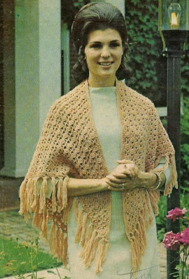 **Crochet SHAWL Pattern Girl's PONCHO Knitted Afghan Patterns +*