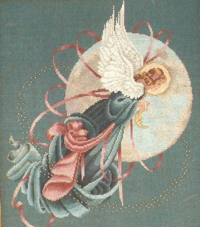 **Lavender & Lace Cross Stitch KIT Blue Moon Angel