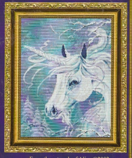 **Unicorn CROSS STITCH Kustom Krafts WINTER UNICORN 2002 *