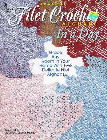 Annie's Attic * 5 * Filet Crochet Afghan Patterns IN A DAY Patterns