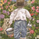 **Cross Stitch KIT Boy W/ Pail and Boat Heading to the Ocean
