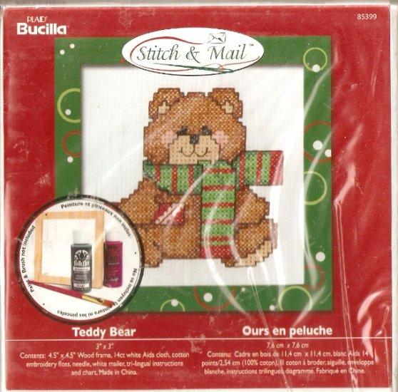 **Christmas Stitch & Mail Cross Stitch KIT CUTE TEDDY BEAR 2006