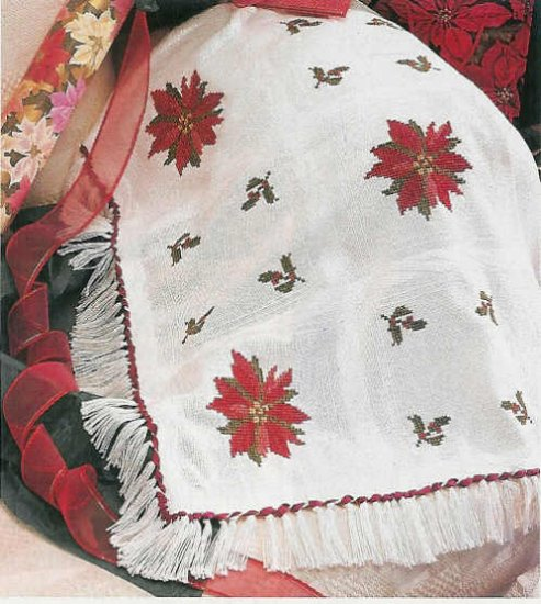 Crochet Poinsettia Afghan Pattern - SHALOM Cross Stitch Pattern Christmas Afghan