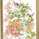 **Just-A-Chart Cross Stitch BLOSSOMING BIRDCAGE Janlynn 2003