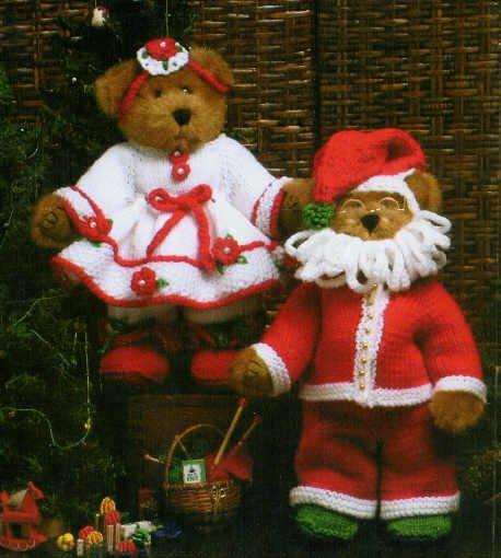 "**Christmas Crochet  - Knit/Crochet Mr & MRS Santa Claus - Fits 12"" Jointed Bears"
