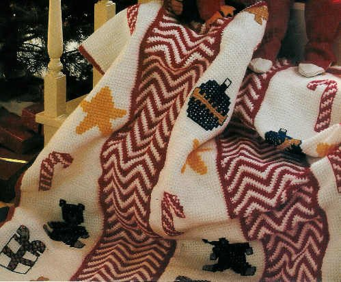Christmas Crochet  - Herrschners Christmas Afghan TREE Centerpiece KISSING BALL Plus