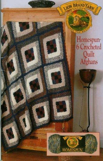 Crochet * 6 * Bulky QUILT Afghan Patterns in Homespun