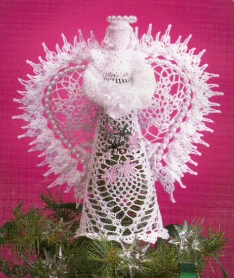 """**White Christmas Collection - Crochet BEADED Tree Top ANGEL - 11"""" tall"""