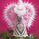 "**White Christmas Collection - Crochet BEADED Tree Top ANGEL - 11"" tall"