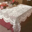 "**White Christmas Collection Crochet Christmas Tablecloth 54"" x 84"" Bells & Bows"