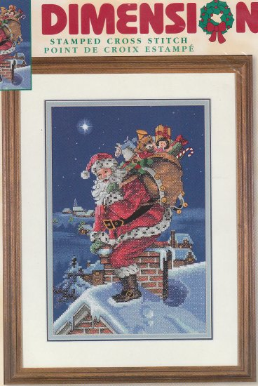 "Stamped Cross Stich Kit DIMENSIONS - ROOFTOP SANTA 9"" X 14"""
