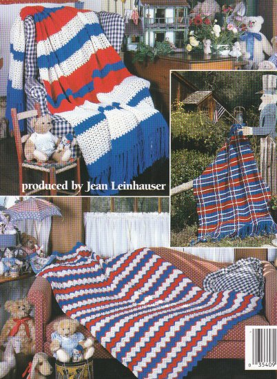 **United STATES Stars and Stripes Flag Afghan Pattern Plus 4 More