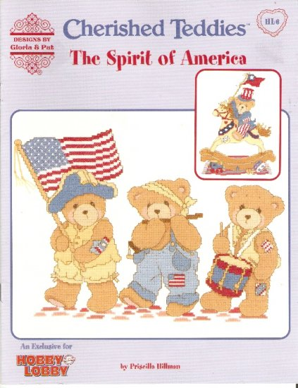 *Cross Stitch CHERISHED TEDDIES by GLORIA and PAT  SPIRIT OF AMERICA