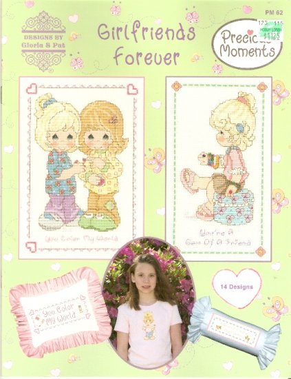 *Precious Moments GIRLFRIENDS FOREVER 14 Cross Stitch designs Gloria and Pat