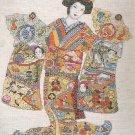 Cross Stitch Kit Oriental Kimono Geisha Holding 2 Fans