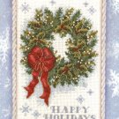 Cross Stitch KIT - CHRISTMAS HOLIDAY HAPPINESS WREATH GOLD NUGGETS