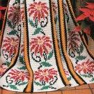 *Christmas Crochet Hard Back Book Poinsettia Reindeer Afghan