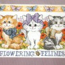 CAT Cross Stitch KIT - FLOWERING FELINES butterflies flowers