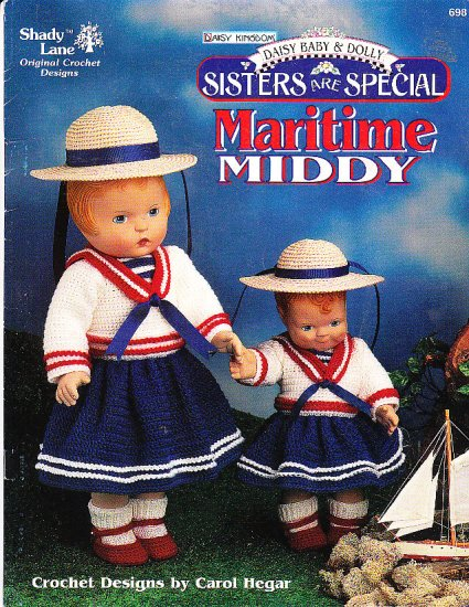"""*Crochet Sisters Are Special Maritime Middy Doll Pattern 12"""" and 18"""" Daisy Baby"""