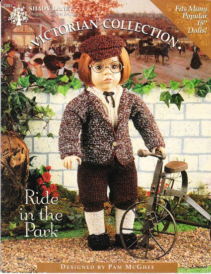 """*Crochet  Vintage American 18"""" Doll Pattern - Ride in the Park"""
