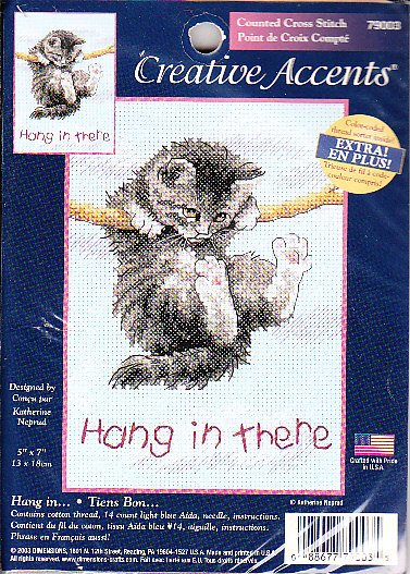 *Cross Stitch KIT CAT HANGING ON ROPE - HANG IN THERE