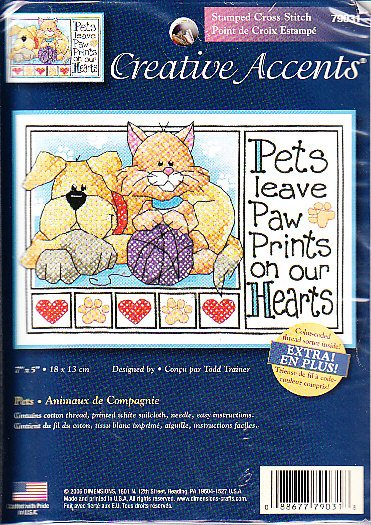 *stamped cross stitch kit  PETS LEAVE PAW PRINTS ON YOUR HEART