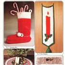 *Crochet Columbia-Minerva Quick and Easy Gift Ideas Stocking Wall Hanging Tree Skirt