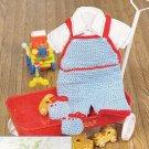 * Crochet Baby Set - Crib Organizer - Crib Blankets - Baby Boy's Overalls