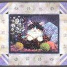 * Embellished Cross Stitch Kit  KITTEN IN YARN BASKET