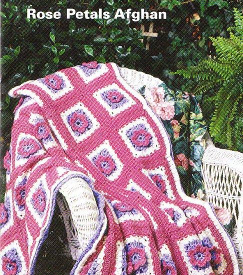 Crochet 6 Cozy Afghans - Rose Petals - Afternoon Shadows - Snowbound