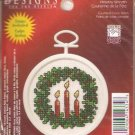 * Christmas Ornament Cross Stitch Kit - Mini Holiday Wreath 2004