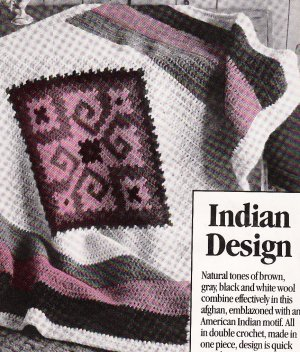 **McCall's Indian Design - Aztec Afghan Aran Knit/Crochet Pattern