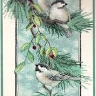 *BIRD stamped cross stitch kit CHICKADEES ON A BRANCH